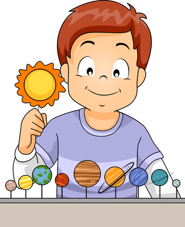 arranging: Illustration of a Little Boy Arranging the Planets of the Solar System