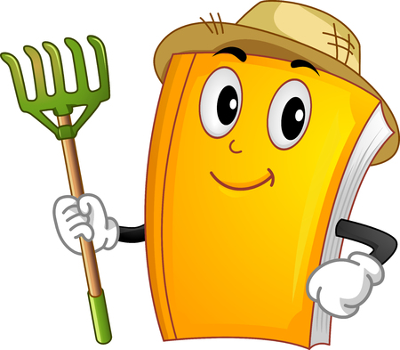 Mascot Illustration of a Book Wearing a Straw Hat Holding a Rake