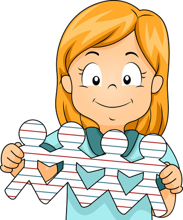 cutouts: Illustration of a Little Girl Showing People Cutouts