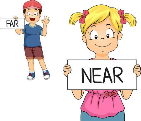 poblíž: Ilustrace Malý chlapec a dívka demonstrující blízka iz daleka Mean