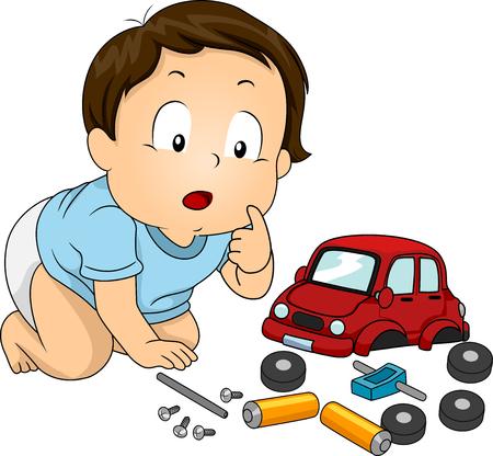 Illustratie van een Baby Boy kijken vreemd op de onderdelen van een speelgoed auto