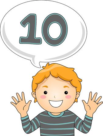 Illustration of a Little Boy Gesturing the Number 10