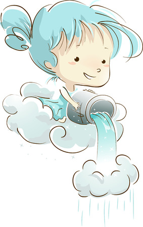 Illustration of a Little Girl Pouring a Bucket of Water Unto a Cloud Stock Photo