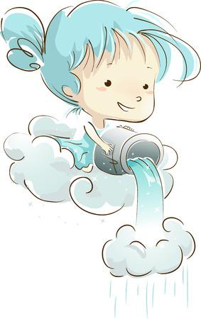 seau d eau: Illustration of a Little Girl Pouring a Bucket of Water Unto a Cloud Banque d'images