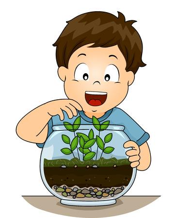 ecosistema: Ilustración de un niño pequeño que controla su terrario Foto de archivo