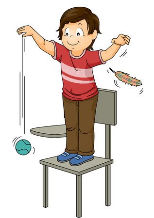 Illustration of a Little Boy Dropping a Ball and a Feather Simultaneously