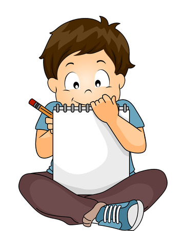 Illustration of a Little Boy Writing on His Sketchbook Stock Photo