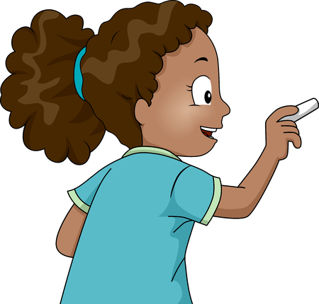 schooler: Illustration of a Little African Girl Using a Chalk to Write