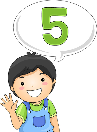 Illustration of a Little Boy Gesturing the Number 5