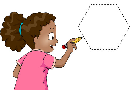 Illustration of a Little Girl Drawing a Hexagon Stock Photo