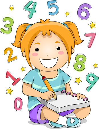 educational problem solving: Illustration of a Little Girl Solving Mathematical Problems Stock Photo