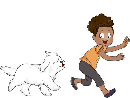 Illustration of a Little African Girl Playing a Game of Tag with a Dog