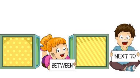 esl: Illustration of a Little Boy and Girl Demonstrating What Between and Next To Mean