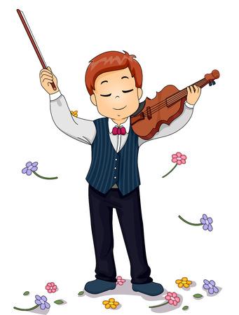 花のシャワーを浴びている若いバイオリン奏者のイラスト 写真素材