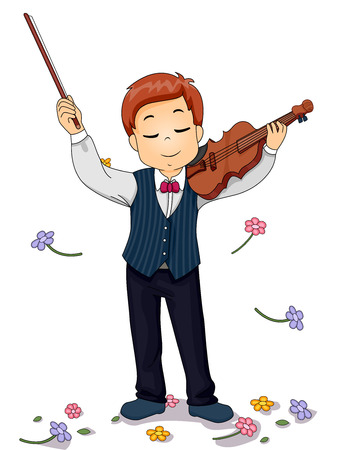 adoration: Illustration of a Young Violin Player Being Showered with Flowers