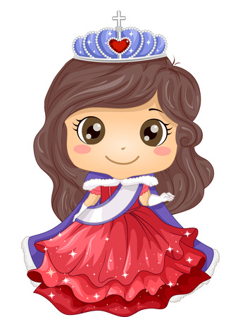 beauty pageant: Illustration of a Young Beauty Queen Wearing a Gown and a Tiara