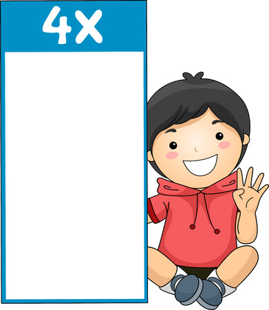 multiplication: Illustration of a Little Boy Sitting Beside a Multiplication Flash Card for Multiples of Four Stock Photo