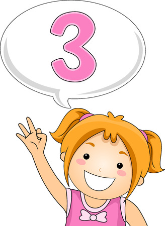 Illustration of a Little Girl Gesturing the Number 3