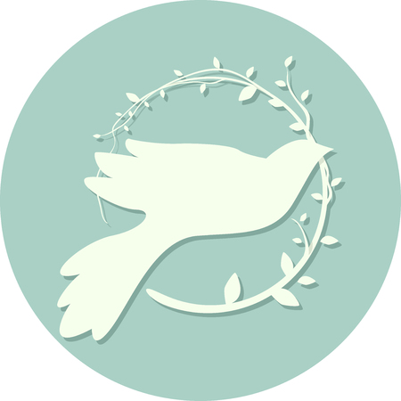 olive leaves: Illustration of a Peace Icon Featuring the Outline of a Dove Carrying Olive Leaves