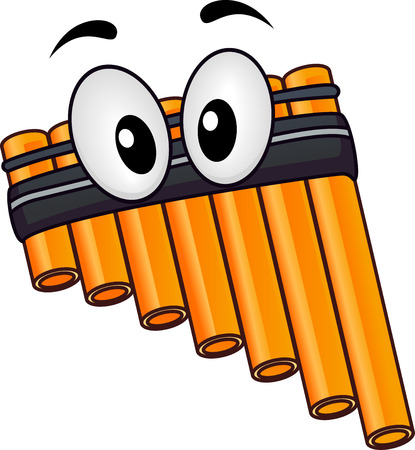 musical instrument: Musical Instrument Mascot Illustration of a Pan Flute with Googly Eyes