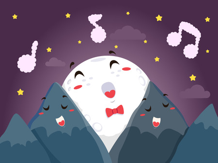 Mascot Illustration of a Full Moon Singing a Song with a Pair of Mountain Mascots Stok Fotoğraf