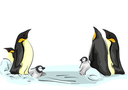 family playing: Animal Illustration of a Family of Emperor Penguins Playing on an Ice Sheet