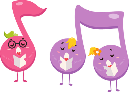 representations: Mascot Illustration of Three Eight Notes Singing While Holding a Music Sheet