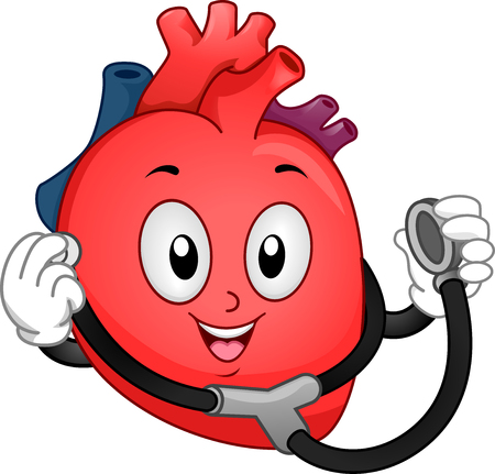 human representation: Mascot Illustration of a Human Heart Using a Stethoscope to Listen to Heart Beats