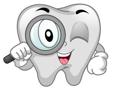 Mascot Illustration of a Clean White Human Tooth Holding a Magnifying Glass Stock Photo