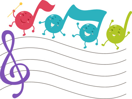 Cute Mascot Illustration of Musical Notes Marching Across a Blank Music Staff