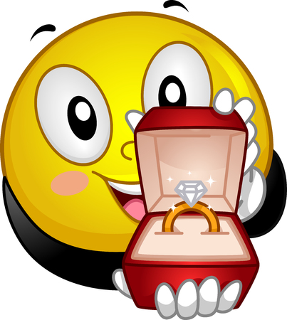 give out: Mascot Illustration of a Lovestruck Smiley Presenting an Engagement Ring with a Diamond on Top
