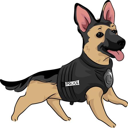 Ilustración de los animales de un perrito lindo del pastor alemán en un chaleco de entrenamiento Entrenamiento a ser un perro de policía Foto de archivo