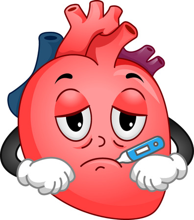 human representation: Mascot Illustration of a Sick Human Heart Using a Thermometer to Check its Temperature Stock Photo