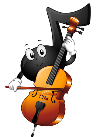 sliding: Mascot Illustration of a Musical Note Sliding the Bow Across the Strings of a Cello