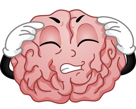 headaches: Illustration of a Brain Mascot Grimacing in Pain While Having a Migraine Attack Stock Photo