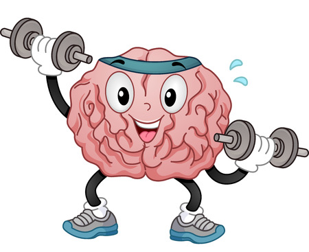 brain: Illustration of a Brain Mascot in Sporty Headband and Training Shoes Alternately Lifting Dumbbells