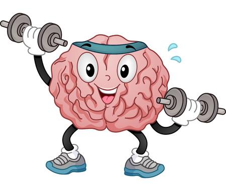 pesas: Ilustración de una mascota del cerebro en la venda deportiva y de entrenamiento Zapatos Alternativamente levantamiento de pesas