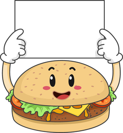 comfort food: Illustration of a Tomato, Lettuce, and Cheese Sandwich Holding a Blank Board