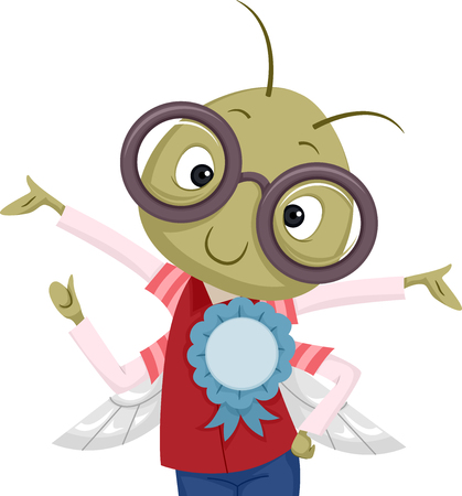 bugs: Illustration of a Nerdy Bug in Glasses with a Ribbon Pinned to its Shirt