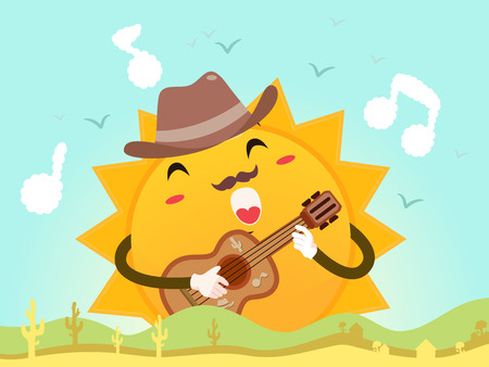Mascot Illustration of a Happy Sun in a Fedora Hat Strumming the Guitar While Singing a Song