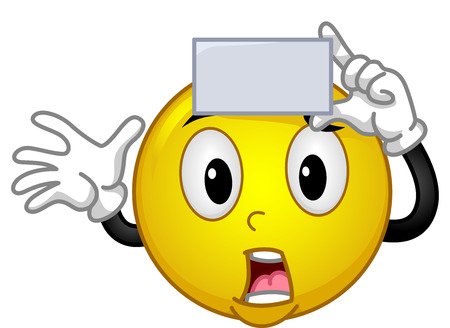 hurried: Mascot Illustration of a Panicked Smiley Holding a Blank Card Against His Forehead While Playing a Game of Charades