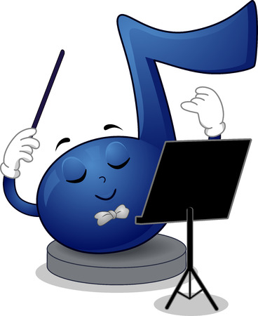 representations: Mascot Illustration of a Blue Musical Note Waving His Baton While Looking at the Music Sheet