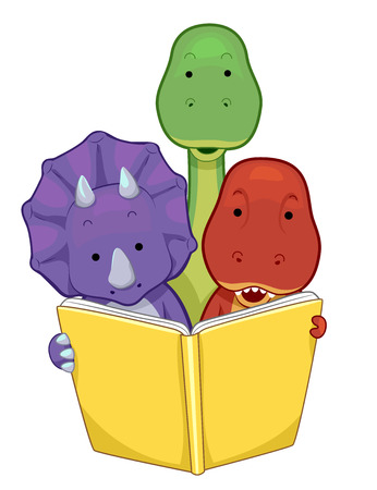 Colorful Animal Illustration of a Baby Triceratops, TRex, and Brontosaurus Reading a Book Together