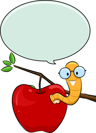 nerdy: Illustration of a Nerdy Worm Crawling Out of an Apple with a Speech Bubble Above Its Head