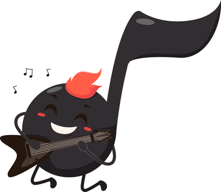 electric guitar: Mascot Illustration of a Black Musical Note Dressed as a Rocker Playing the Electric Guitar