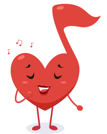 ballad: Mascot Illustration of a Heart Shaped Musical Note Singing a Love Song Stock Photo