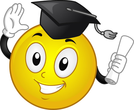 toga: Mascot Illustration of a Happy Smiley in a Graduation Cap Clasping His Diploma Stock Photo