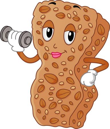 barra de cereal: Ilustración de una mascota de la barra del cereal femenino atractivo Muesli levantar una pesa