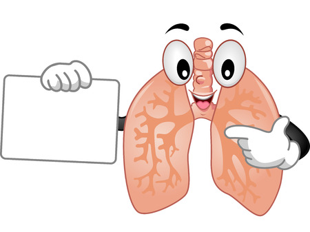 pulmonology: Mascot Illustration of a Healthy Human Lungs Delivering a Presentation While Holding a Blank Board