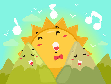 Mascot Illustration of a Sun Happily Singing with Two Mountain Mascots Stock Photo